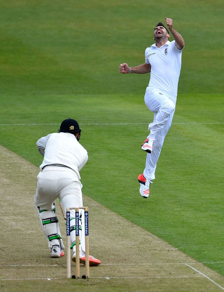 James Anderson removed Martin Guptill for his 400th Test wicket, England v New Zealand, 2nd Investec Test, Headingley, 1st day, May 29, 2015