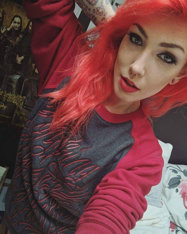 """Crow-ligraphy"" Ruby Raglan Sweatshirt available at www.crmc-clothing.co.uk | WE SHIP WORLDWIDE Model - @vickivonhelsing #tattooedwomen #girlswithtattoos #hot #alternative #alternativeteen #altgirl #alternativegirl #redhair #raglan #ruby #fashionstatement #altfashion #instafashion #fashiongram #fashionista #fashionoftheday #picoftheday #photooftheday #selfie #stylegram #stylefashion #igers #love #beautiful #fashion #instagood #instastyle #instalike #instadaily #instalove"