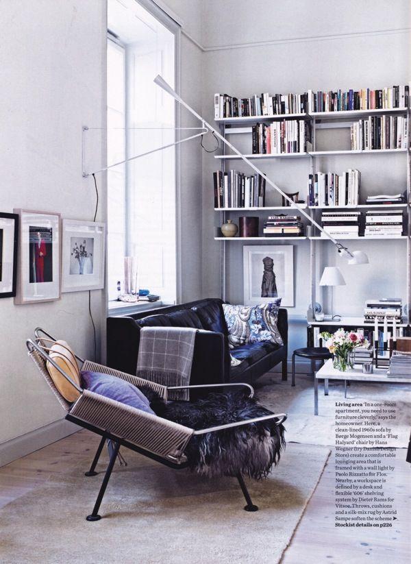 gray white, plus I like the shelving.: Lamps, Living Rooms, Interiors Photography, Chairs, Nordic Design, Jonas Ingerstedt, Interiors Design, Style Bookshelves, Hans Wegner