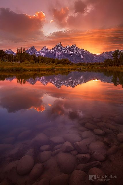 Schwabacher Sunset-Vertical ~ Grand Teton National Park, Wyoming by Chip Phillips
