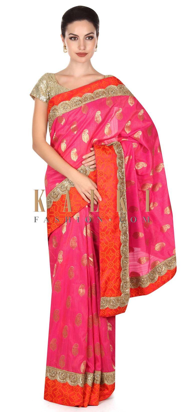Buy this Pink saree adorn in orange bandhani printed border only on Kalki