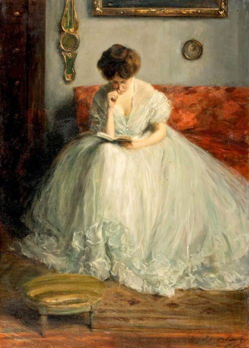 colourthysoul:Jacques-Émile Blanche - Portrait de Lucie lisant un livre