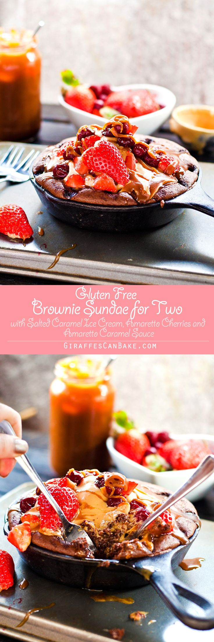 Brownie Sundae for Two - The most delicious way to wow your Valentine this year! This Gluten Free Skillet Brownie Sundae is made especially for two to share (loving gazes across the sundae are optional). Amaretto soaked cherries are baked into a fudgy, chocolate skillet brownie, which is then topped with an easy, no-churn salted caramel ice cream and amaretto caramel sauce. It's then finished off with delicious fresh berries for the most amazing brownie sundae you could ever want. And the…