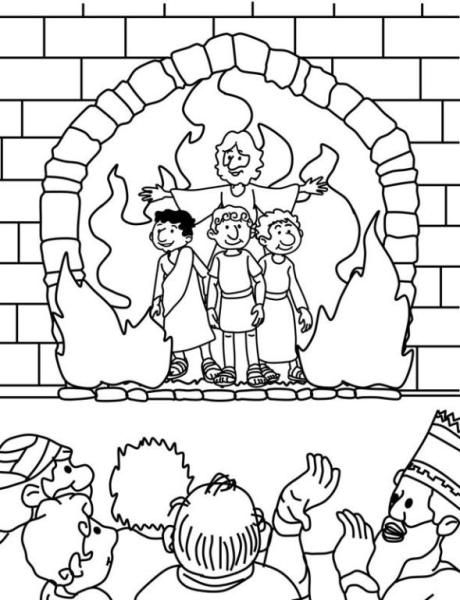 The Fiery Furnace Coloring Page | Bible crafts, Sunday ...