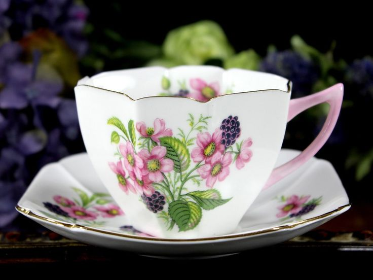 Shelley Floral Teacup and Saucer, Art Deco, c1945-1966 Tea Cup 12910 - The Vintage Teacup - 6