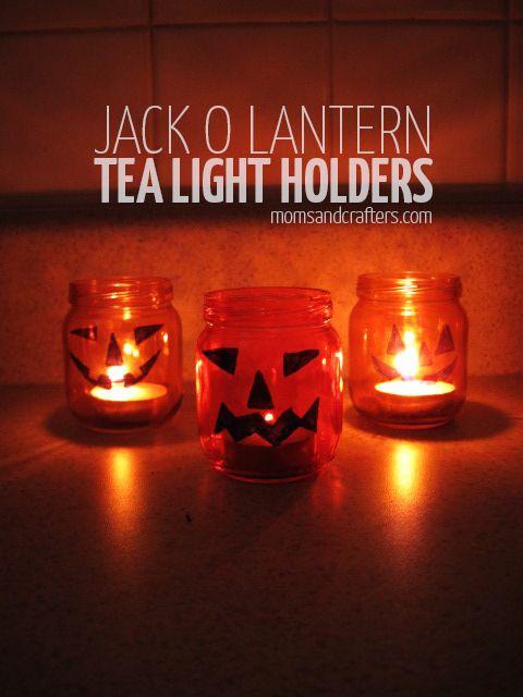 DIY Jack o lantern tea light holders for halloween - halloween crafts - upcycled jars - upcycled baby food jars, sharpie crafts