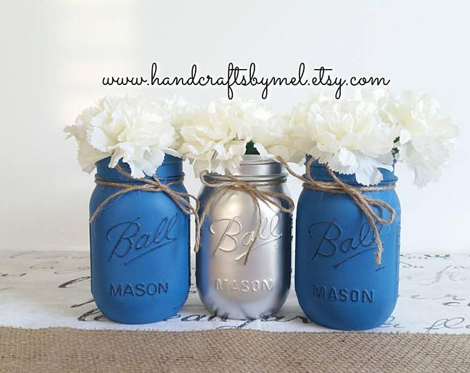 Set Of 3 Blue And Silver Mason Jar Vases Mason Jar Centerpieces