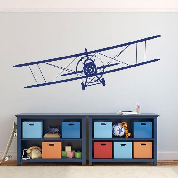 VENTE biplan vinyle autocollant avion Wall Decal graphiques choisir couleur enfants garçons chambre Decor cadeau jusqu