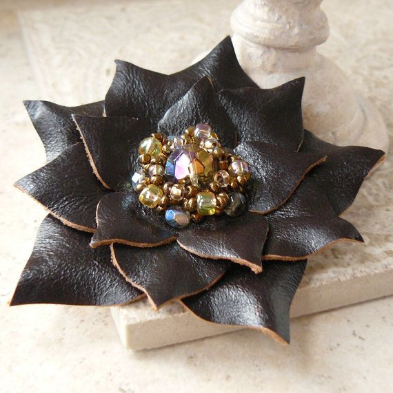 Scintilla  Beaded Leather Flower Pin in Espreso and ❤ by Viridian