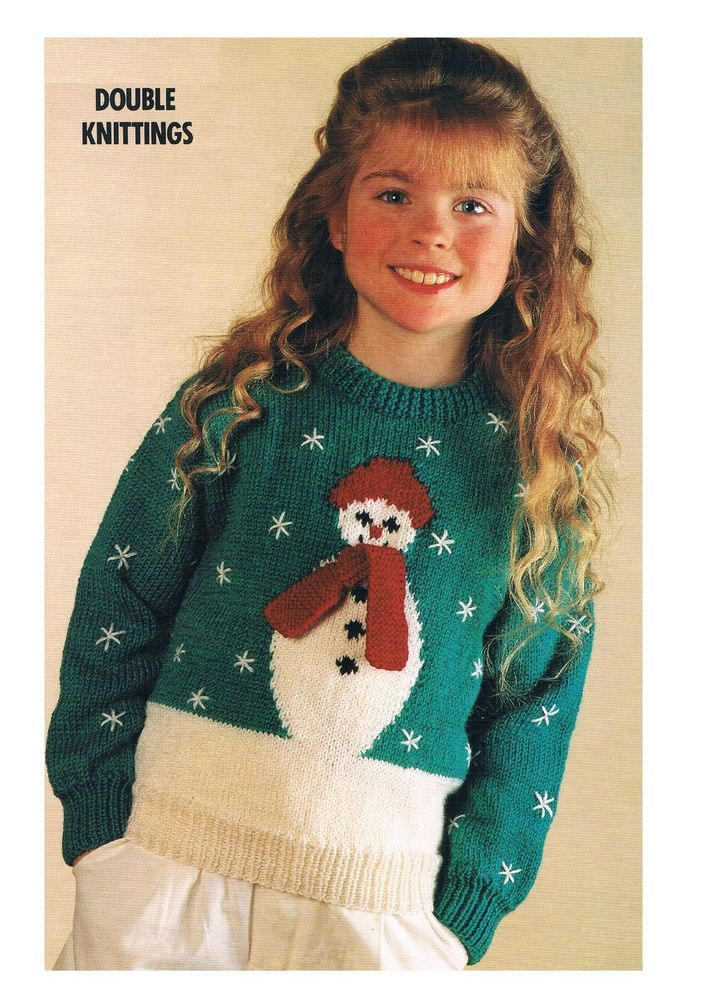Vintage Knitting Pattern-Christmas Snowman Sweater/Jumper-PATTERN ONLY-22-34 in