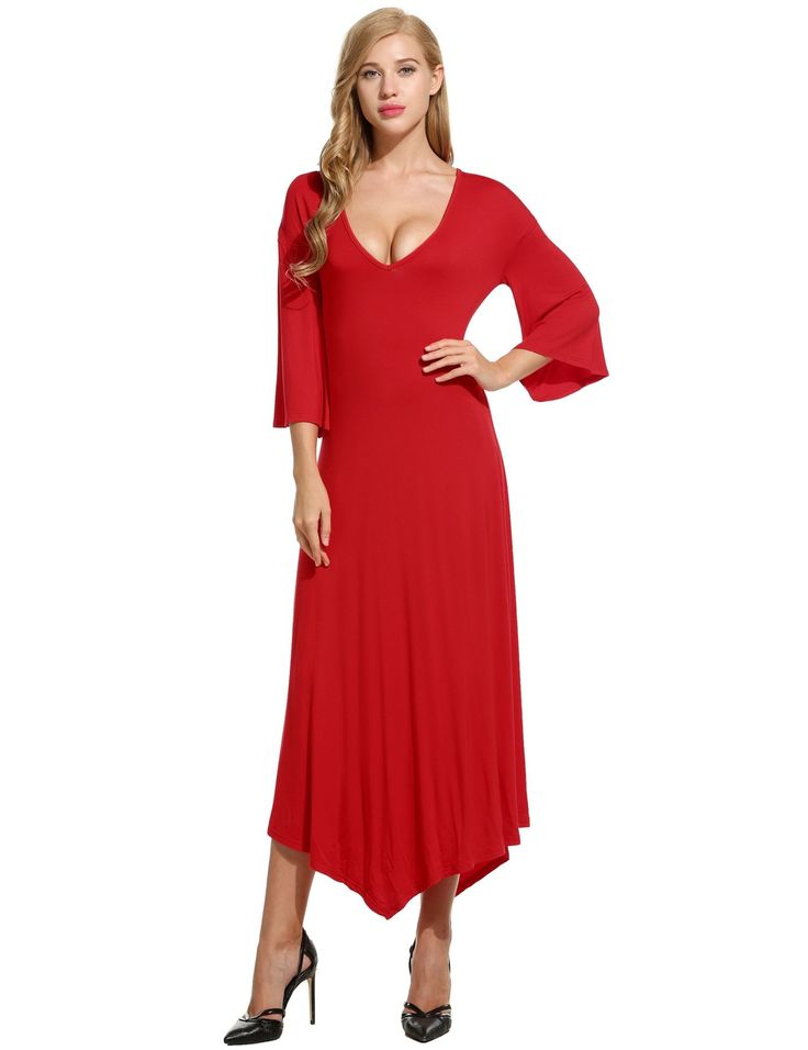 Red New Women Sexy V-Neck Flare Sleeve Asymmetrical Hem Solid Loose Casual Dresses