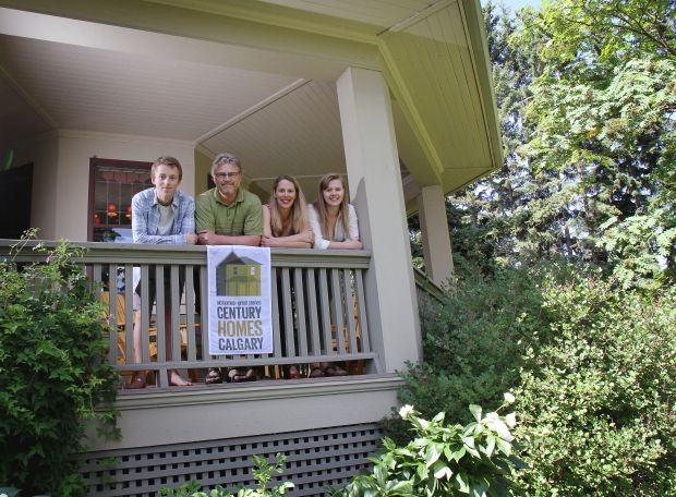 Calgary Herald article... July 28th, 2012. Tom and Lisa Buck, centre, with their children John, 17, and Emily, 22, on the porch of their 1912 home in Calgary.