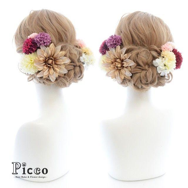Gallery 138 Order Made Works Original Hair Accesory for SEIJIN-SHIKI #byPicco #着物 に合わせた#彩り#マム に#ゴールド#ダリア で#エレガント #オリジナル#オーダーメイド#髪飾り#2016#成人式#振袖#前撮 #花飾り#イベント#着物#造花#ヘアセット#アップスタイル#和装 はもちろん#ドレス にも #hairdo#flower#event#japanese