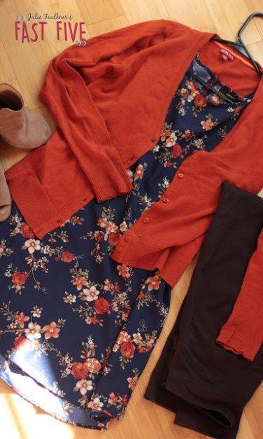 Fall teacher outfit, navy dress, orange cardigan, peep toe booties