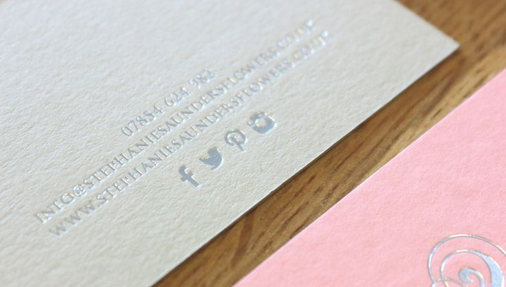 Stephanie Saunders Flowers, Luxury Floral Design, Business Stationery, Business Cards, Foil Print, soft pink and grey. By Leaff Design, Worcester UK.
