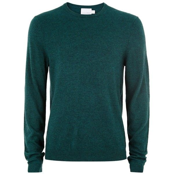 TOPMAN Green Cashmere Jumper (150 BRL) ❤ liked on Polyvore featuring men's fashion, men's clothing, men's sweaters, green, mens crewneck sweaters, mens slim fit cashmere sweaters, mens slim fit sweaters, mens cashmere sweaters and mens green sweater