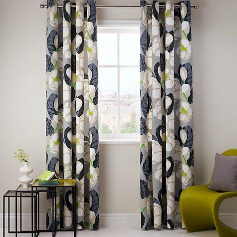 Buy Designers Guild Flamingo Park Lined Eyelet Curtains, Grey Online at johnlewis.com