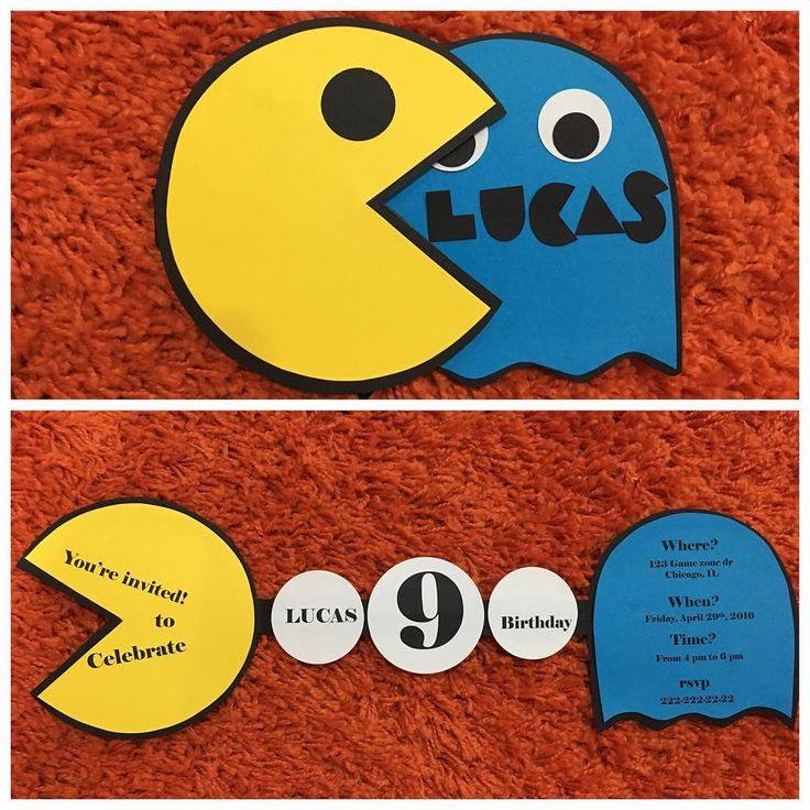 Pac-man invitation! For an arcade theme party. Not available on my shop, but you…