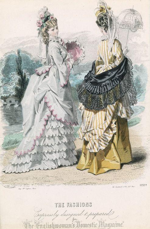 Victorian bustle styles: September promenade dresses, 1872 England, Englishwoman's Domestic Magazine