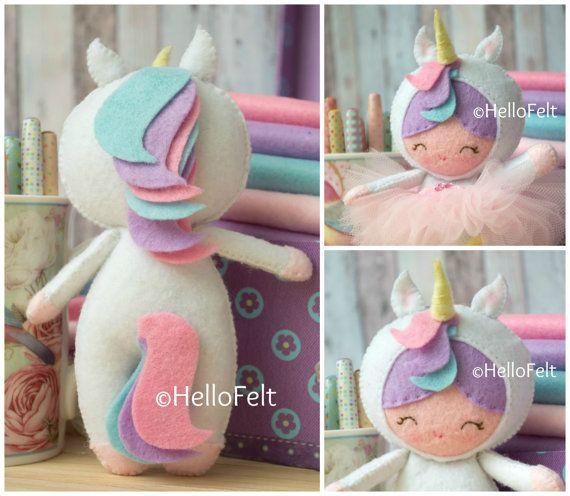 This PDF sewing pattern is to make a Little Unicorn Girl doll from felt and her removable tutu. This doll is hand sewn. Doll Size: 6.5 tall aprox. THIS IS NOT A FINISHED TOY. **Pattern does not include finished dolls, supplies or fabric.**  THIS PDF Pattern includes: . Step by step images tutorial. . A material and supply list. . Full size pattern pieces just Print and Sew!  . Skill Level: Intermediate (Some pattern pieces are small) . Basic Skills Necessary: Back Stitch, Blanket Stitch…
