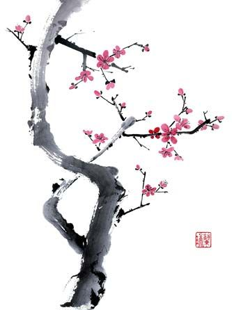 I absolutely love Chinese brush painting, especially cherry or plum blossoms