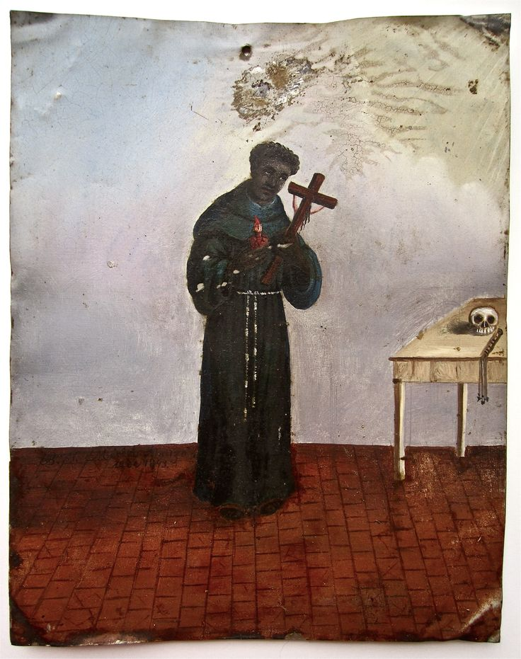 1843 Mexican Retablo of San Benito de Palermo, patron saint of Negro slaves in America.  SOLD