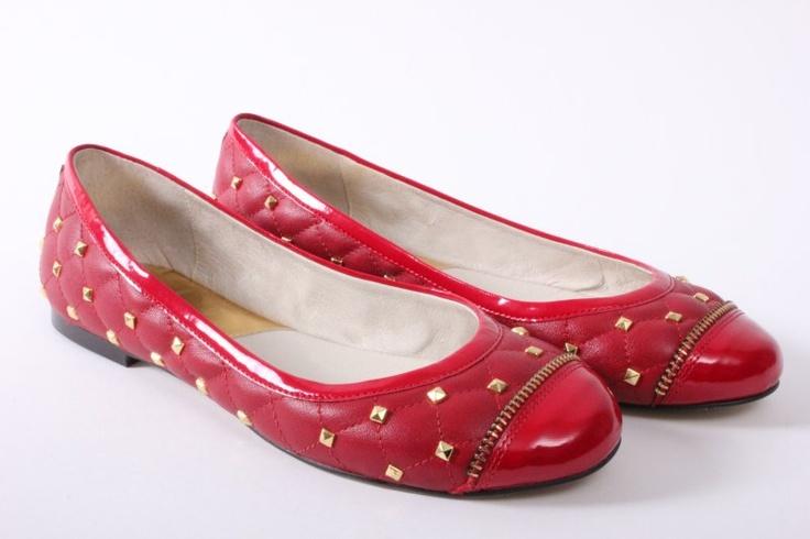 Rode dames ballerina €149.95 online bestellen via info@hermanschoenen.nl