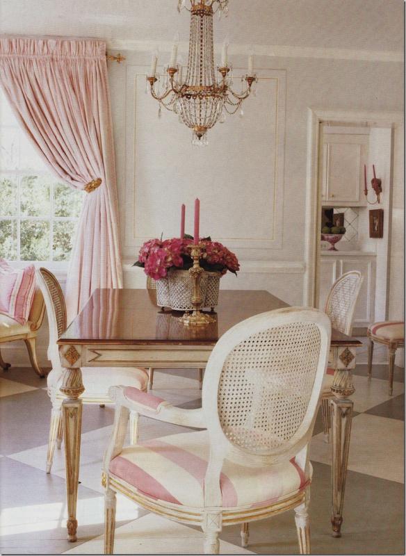 Pink Stripe Dining Room