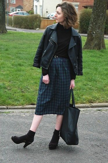 Self Made Tartan Midi, Primark Tote, Primark Platform Sandals, Matalan Turtleneck, Warehouse Leather Jacket