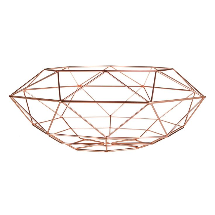 Geometric Copper Basket - This Geometric Copper Basket is a stunning piece of design and can be used in a multitude of arenas, wether it be a fruit bowl, decorative stand alone piece or just for storage this piece will look clean contemporary and sleek.