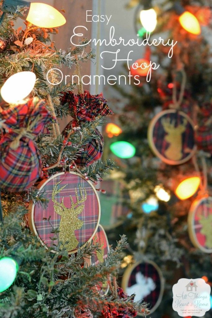 5 Minute Embroidery Hoop Ornaments