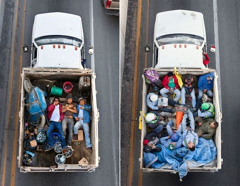 Alejandro Cartagena's photo series, entitled The Car Poolers in Mexico, depicts the daily life of workers living in Monterrey. This revealing series shows a side of a society that often goes unlooked. Cartagena's photographs won the 2012 International Street Photography Award, and they were recently on display at the Kopeikin Gallery in Miami.