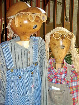 """love it....D.A. Ray developed his own """"unique birdhouse"""" by combining his gourd designs with that of a scarecrow to create his """"gourdheaded birdhouse scarecrows."""""""