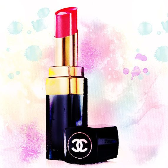 Chanel Lipstick Watercolor Print Chanel Art Print Red by ...