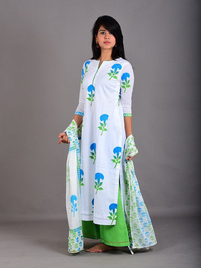 Blue Green Cotton Shaded Floral Hand Block Printed Suit - Set of 3