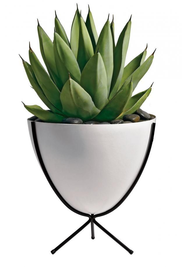 Midcentury bullet planter from Design Within Reach is in molded fiberglass atop a tripod of powder-coated steel.