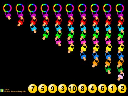 El Camell és un dels personatges més importants de la Festa Major de Molins de Rei.  Els més petits li entreguen el seu xumet, quan ja no el fan servir.  Activitat de l'Emilia Alcaraz adreçada a l'alumnat d'Educació Infantil, amb la que podran treballar el concepte de quantitat, amb els nombres fins al 10.  En aquest joc, els nostres alumnes hauran d'arrossegar la boleta fins a l'anella que tingui el número de xumets que s'hi indica.