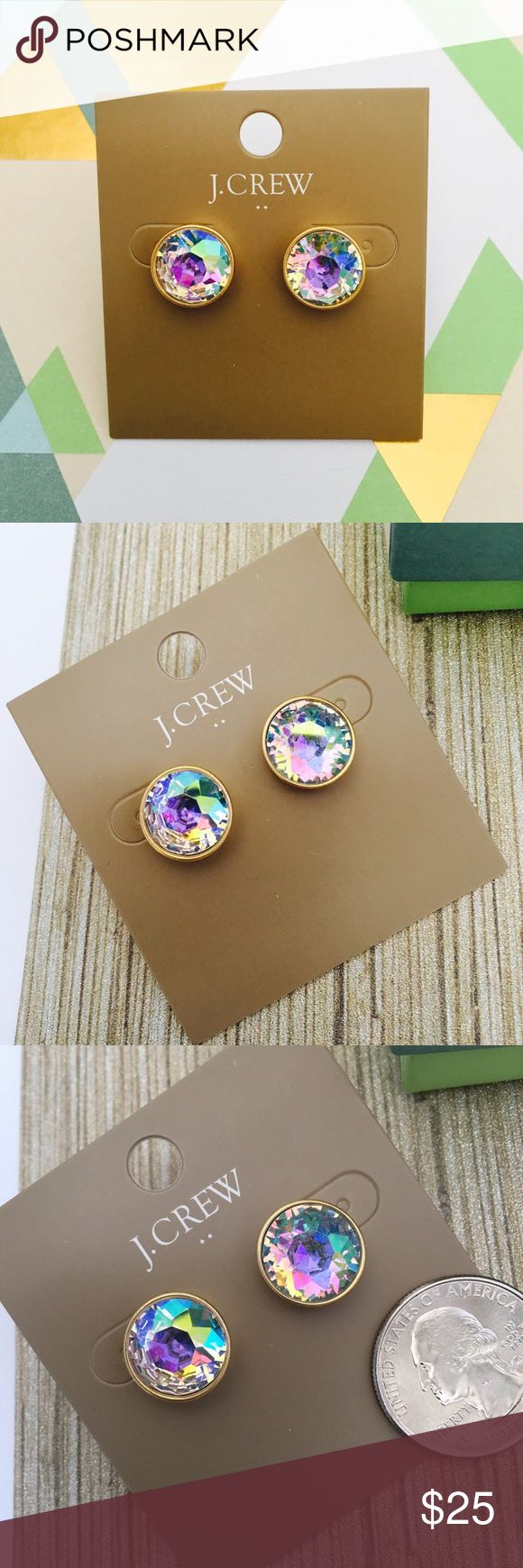 "J. Crew Iridescent Dot Earrings Gorgeous iridescent earrings. Factory item. Color: Buff Irridescent  * Zinc, glass stone, cubic zirconia. * Light gold ox plating. * 9/16""W. J. Crew Jewelry Earrings"