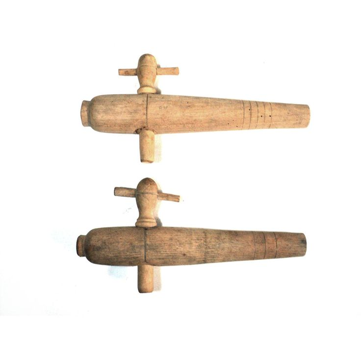 "2 Large Wood Keg Taps, XL 9"" French Wooden Beer Tapper, Primitive Barrel Cider Tap, Keg Spigot, Brewery Accessory"
