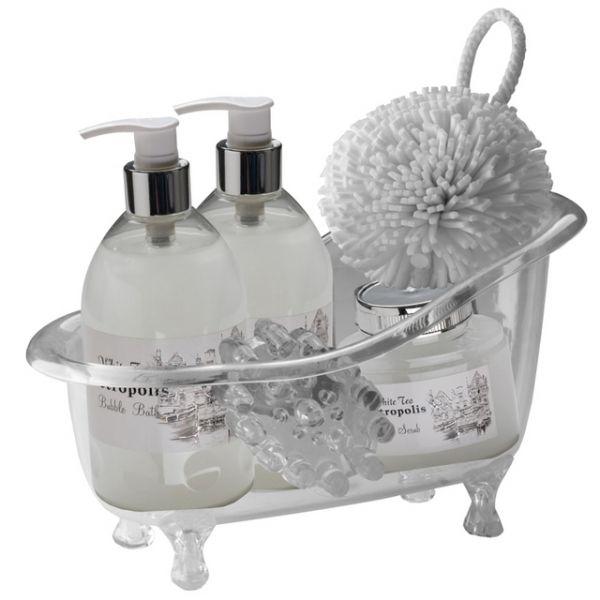 MAC 70284 Bath set Wellness gift set in a re-usable small acrylic bath tub consisting of a white tea scented bubble bath and shower gel (both 250ml), body scrub (220ml), bath sponge and a massager.