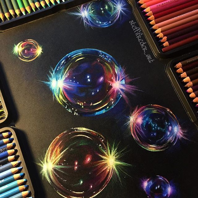 Bubble drawing is finally complete!❤️ Prismacolor soft core pencils on black Strathmore paper!✍ Which bubble is your favorite one?