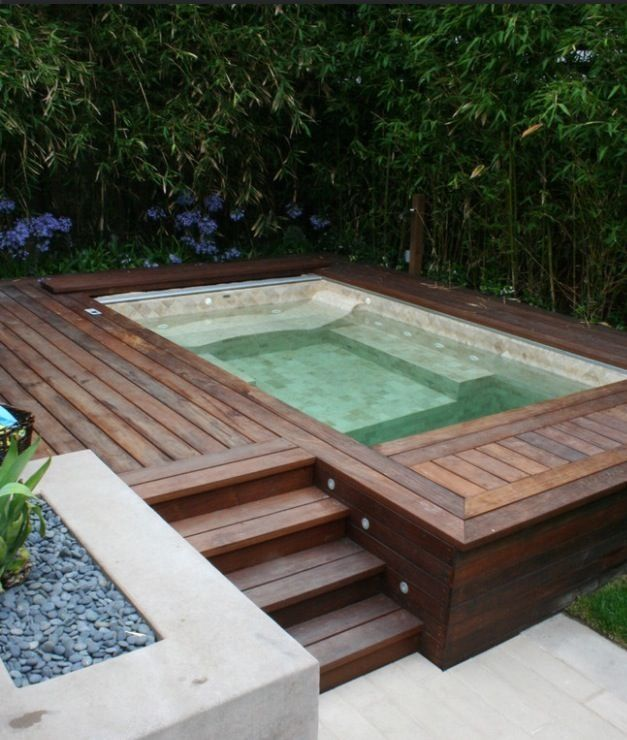 Contemporary Hot Tub with Fence, Pathway
