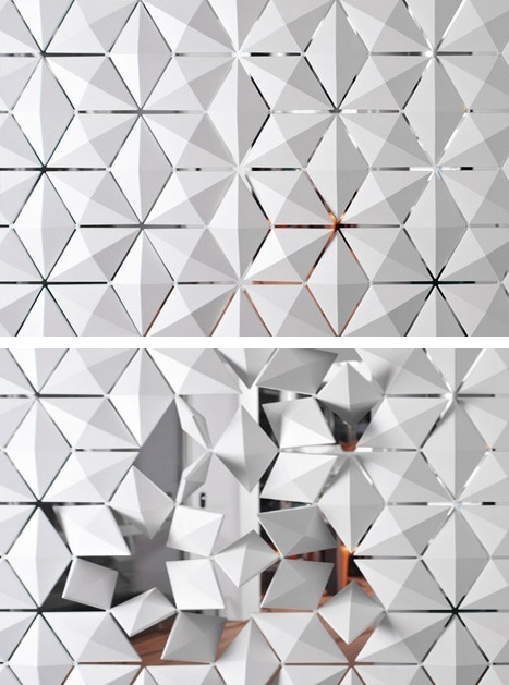 """Facet space divider by Bas Van Leeuwen and Mireille Meijs. A modular system for window screens and space dividing applications by Bloomming. """"Play with light and shade with 3D elements that can individually rotate 360 degrees to create unique, interactive patterns."""""""