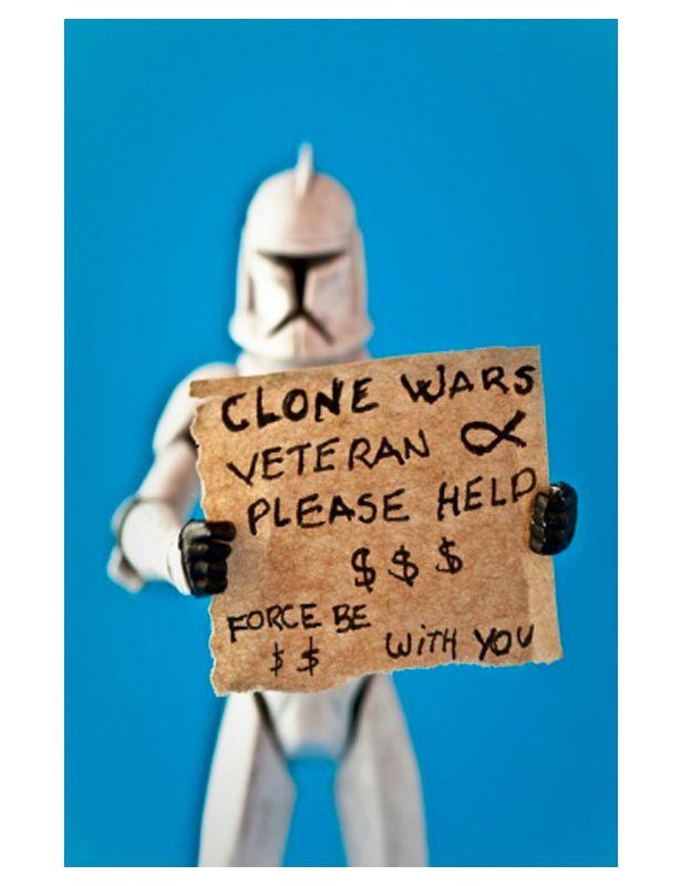 La recesión económica también ha afectado a los personajes de Star WarsGeek, Toys Boxes, Clone Vet, Funny, Star Wars, Clone Wars, Stars Wars, Wars Veterans, Starwars