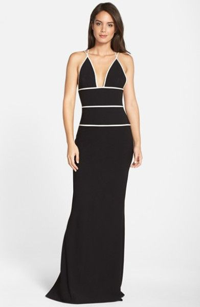 Looking for a sexy gown? Here's a Black and white Gown from Jill Jill Stuart. Available in store!