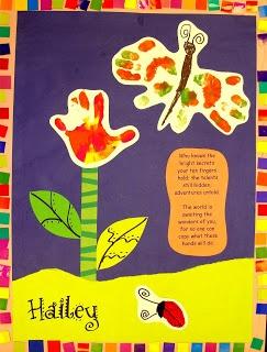 Spring Handprint Art Idea. Love the tie dye butterfly