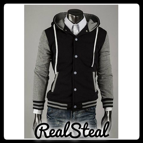 Mens Slimfit Baseball Hoodies Grey – Real Steal Free Shipping JUST $47.68