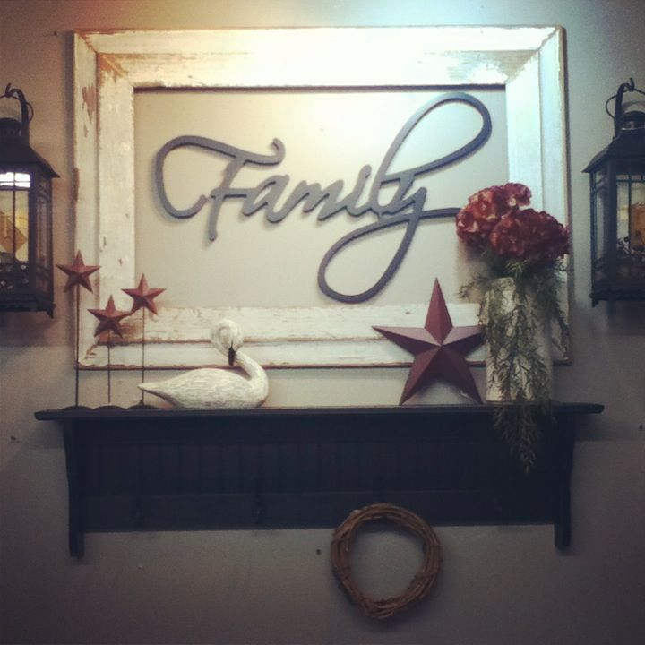 Barnwood frame with Family word and country decor!