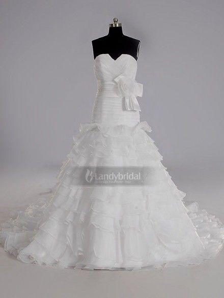 ウェディングドレス ローウエスト コサージュ リボン ハートネック アイボリー チャペルトレーン オーガンジー H2lblb3199 価格 ¥59,400