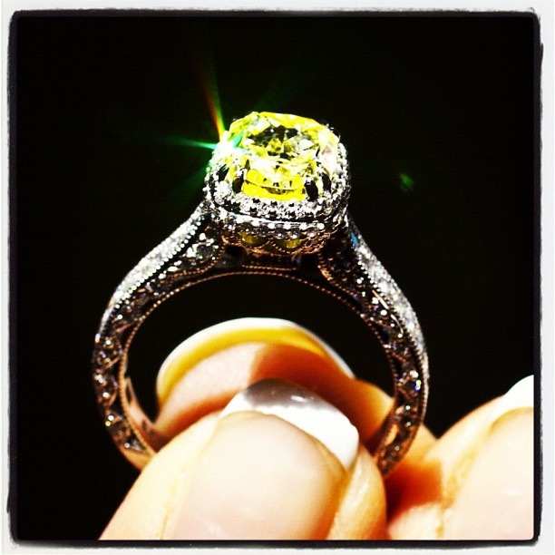 Capri Jewelers Arizona ~ www.caprijewelersaz.com Tacori. Canary Yellow Fancy Diamond in a Tacori setting.